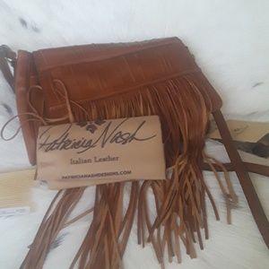 🍁  Patricia Nash Fringe Italian  leather bag